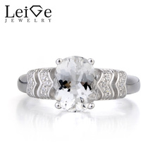 Leige Jewelry Natural White Topaz Ring Engagement Ring Oval Cut Gemstone November Birthstone 925 Sterling Silver Ring Gifts