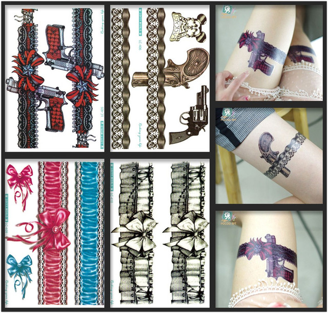 2018 Latest Beauty&Fashional Temporary Body Tattoo Stickers Big Bow-tie With Lace Gun Black Red Tattoo Stickers For Lady.