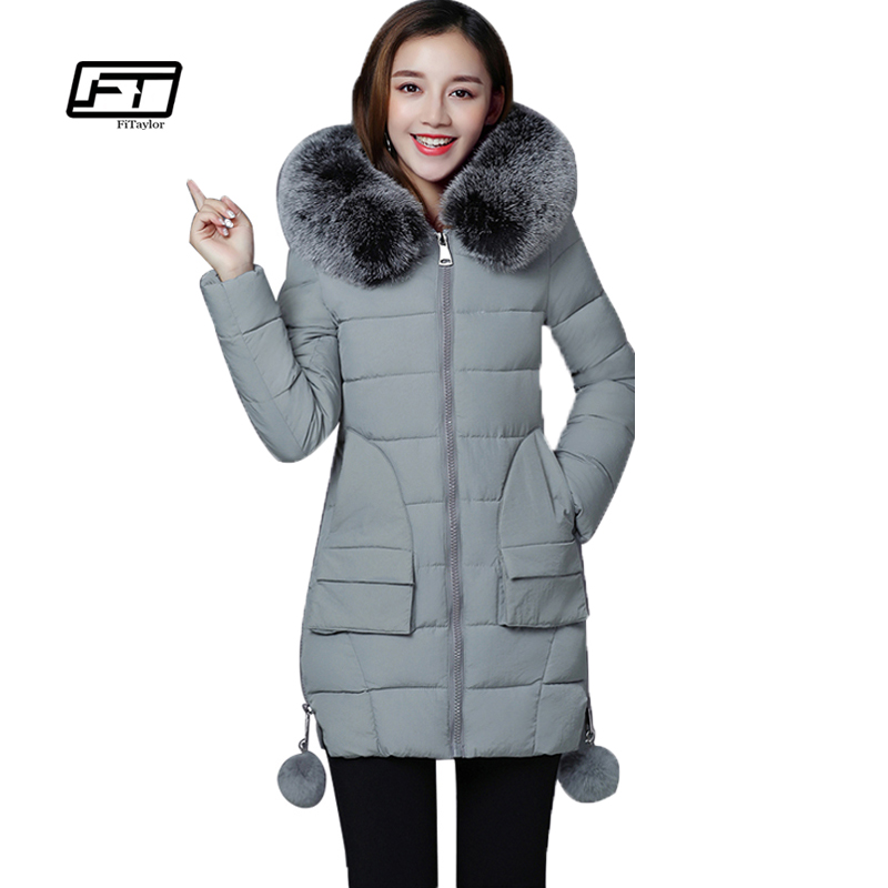 Women Coat Winter New Fashion Lady Cotton-padded Jackets Slim Thicken Female Clothing Fur Collar Hooded Zipper Parkas Long Coats 2014 female new fashion waist thicken over knee parkas female long slim down jackets winter coat