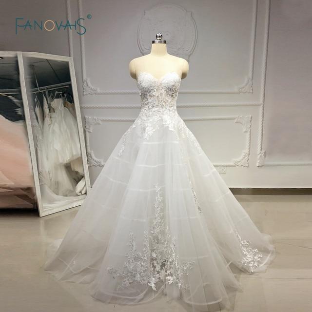 Độc đáo Áo Cưới 2019 Sweetehart Chữ A Phối Ren Váy Cưới Đời Boho Sheer Đầm Cô Dâu Cưới Đầm Vestido de Novia 2019 NW43