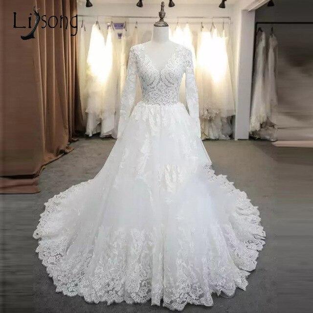 Vintage Lace Wedding Dresses 2018 Full Sleeves Elegant Bridal Gowns ...