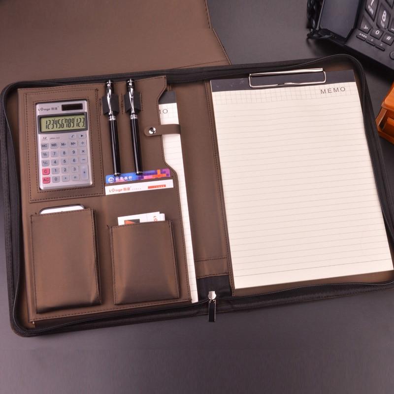A4 Zipper Senior PU Leather Business Work Manager Bag Conference File Folder Organizer For Sales Real Estate Portfolios 641A