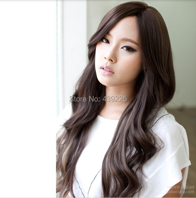 8e737e9008cefe Best full lace synthetic wigs for women long curly realistic natural hair  with oblique bangs cheap female wig +Free gift cap