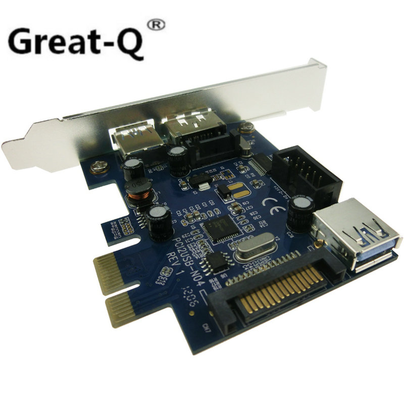 Gran Q externa USB3.0 puerto eSATA puerto interno USB 3,0 9pin Header USB tarjeta PCIe con 15pin SATA toma de corriente