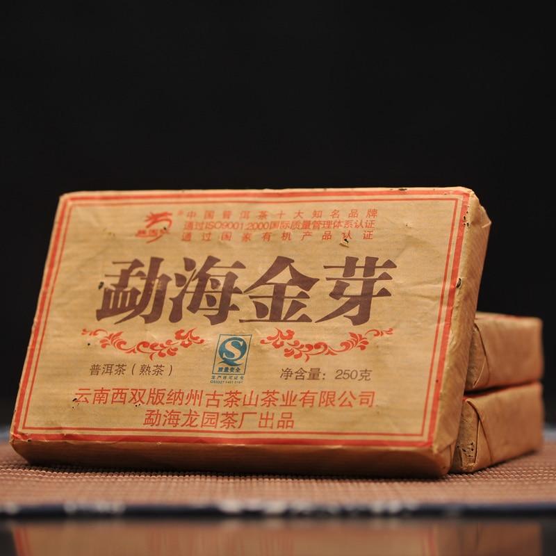 [GRANDNESS] 2007 Yunnan Longyuanhao Pu'er Tea Shu Ripe Brick Golden Bud From Old Tree In Menghai Area puerh brick 250g
