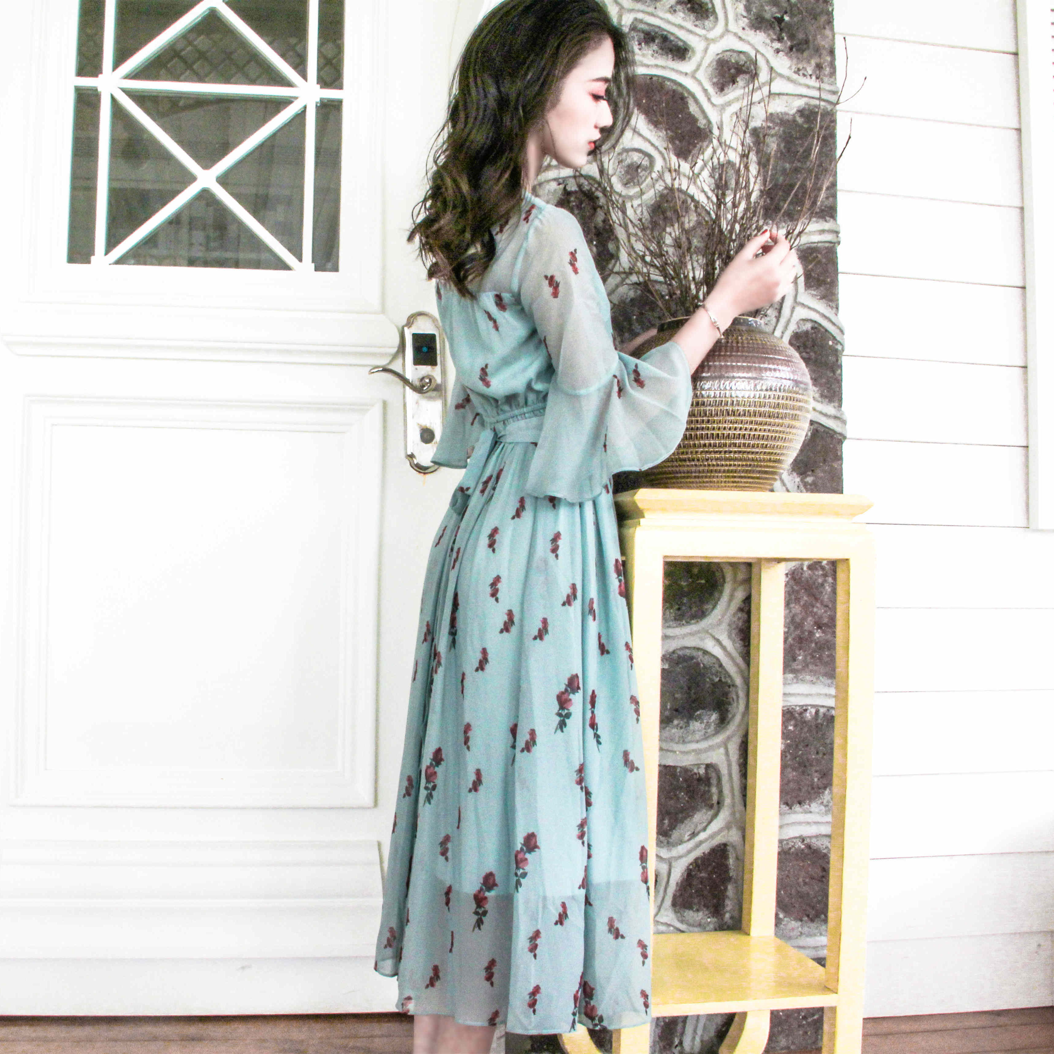 e4aa01ce82f8e US $26.52  2017 spring new women dress korean vintage chiffon floral print  dresses elastic waist female vestidos boho elegant shirt dress-in Dresses  ...