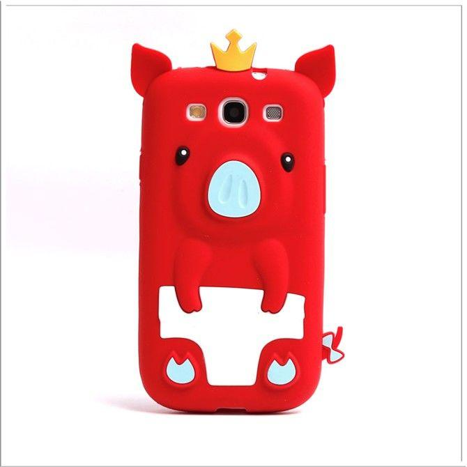 OEEKOI 3D Design Crown Pig Case para Galaxy S3 i9300 Soft Gel Funda - Accesorios y repuestos para celulares