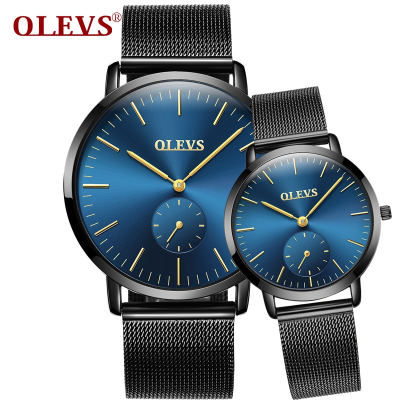 Couple watch OLEVS Top Brand Luxury Mens Watches Fashion Business Quartz Wristwatches Sport Full Steel Waterproof Lovers Watch tomi luxury business watch mens fashion brand sport waterproof quartz wristwatches fashion luxury mens leather dress watches