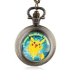 Винтаж стимпанк Покемон Пикачу кварцевые карманные часы Цепочки и ожерелья цепь кулон Best подарок для детей
