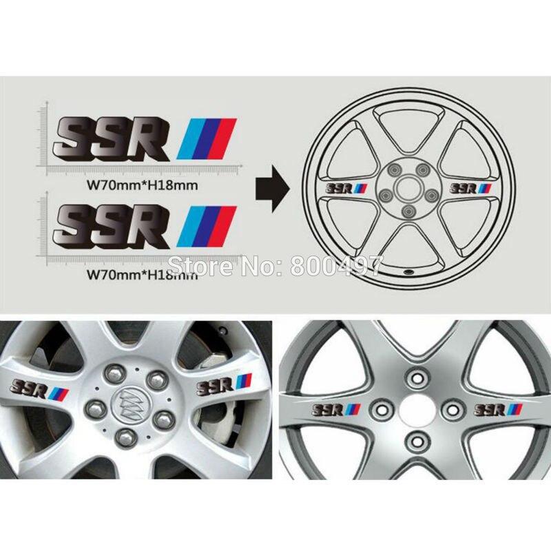 4 X New Car Styling Car Wheel Rim Decorative Vinyl Sticker Series Car Accessories Decals For SSR Wheels