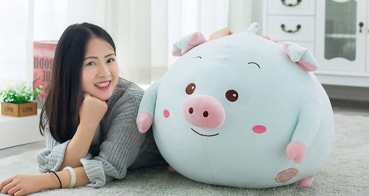 Dessin animé créatif cochon rond en peluche grand 40x40 cm beau cochon en coton doux poupée jeter oreiller jouet cadeau d'anniversaire s2828