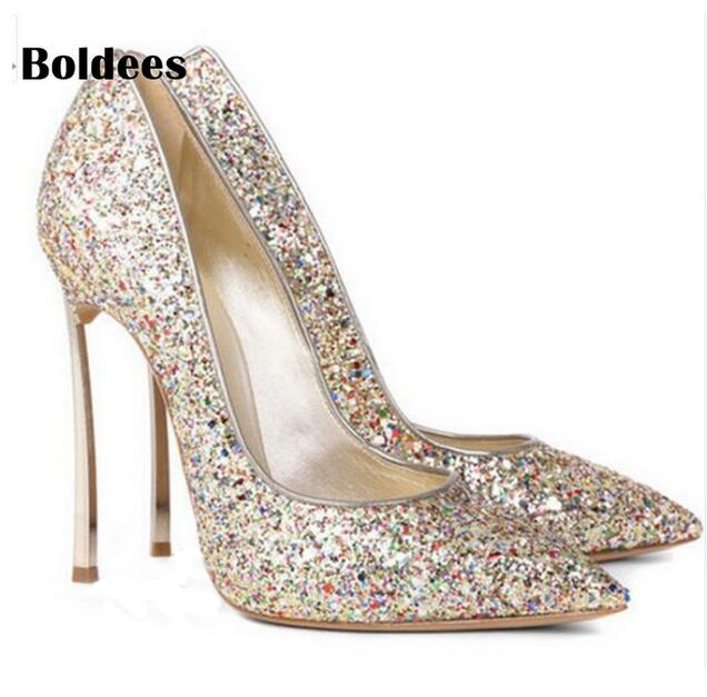 Style Metal High Heels Pointed Toe Women Glitter Wedding Shoes Slip-on Celebrity Stilettos Pumps Shining Tenis Feminino 2017 shoes women med heels tassel slip on women pumps solid round toe high quality loafers preppy style lady casual shoes 17