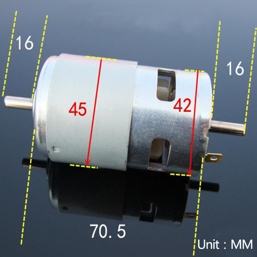 1PCS Double output shaft 795 DC motor front and back double ball bearing motor power 12V DIY model accessories