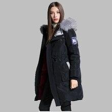 Winter Women Coat High-quality Down Jacket Fashion Raccoon Fur Collar Jacket Coat Medium long Thick Large size Hooded Coat AB183