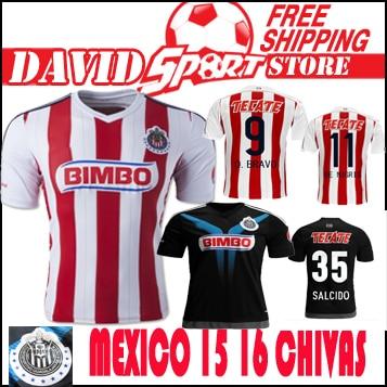 601e46a66 Mexico Chivas 15 16 soccer jersey Chivas 2016 Home away soccer Guadalajara  football shirt jerseys Mexico s tiger black -in Soccer Jerseys from Sports  ...