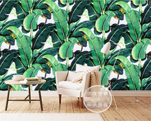 beibehang European Style Retro Hand Painted Rainforest Plant Banana Leaf wallpaper Mural Background Wall for walls 3 d
