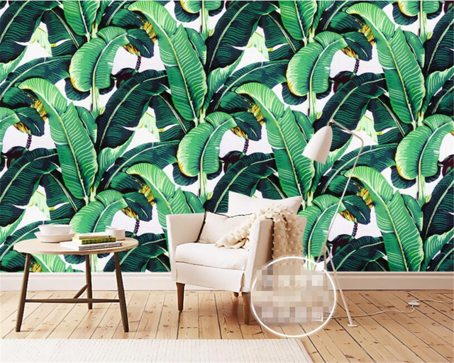 Beibehang European Style Retro Hand Painted Rainforest Plant Banana Leaf Wallpaper Mural Background Wall For