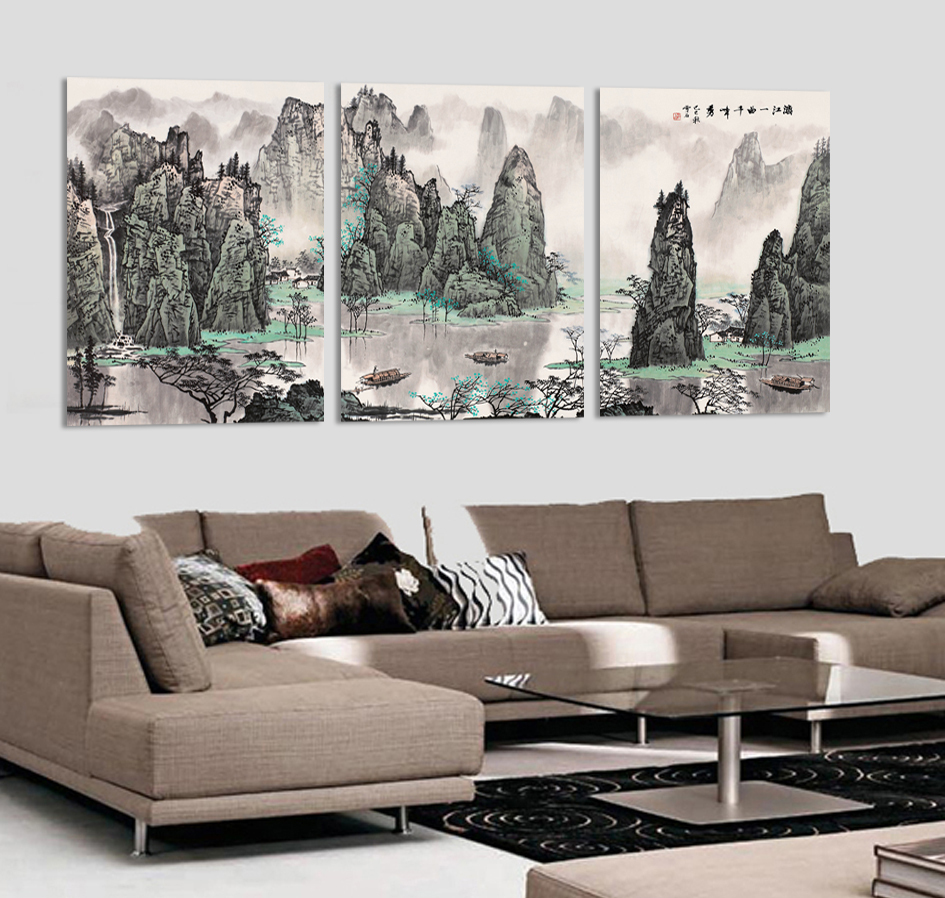 Chinese Mountain River Landscape Painting Fashionable Unique Gift For Home Decoration Canvas Painting Painting On Canvas Picture ...