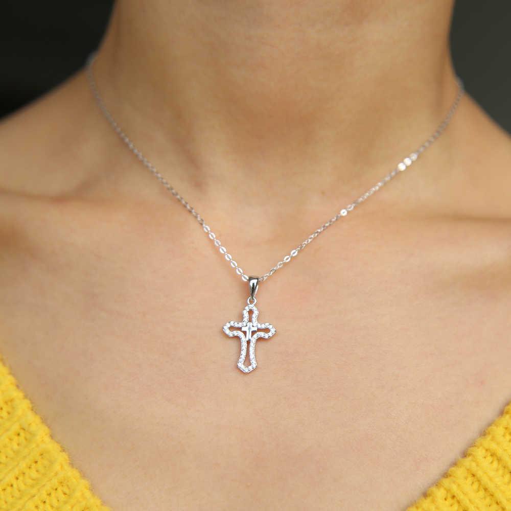 2019 prawdziwa 925 sterling silver micro pave wyczyść cz podwójny krzyż wisiorek dla kobiet mężczyzn urok klasyczny hollow krzyż naszyjnik biżuteria
