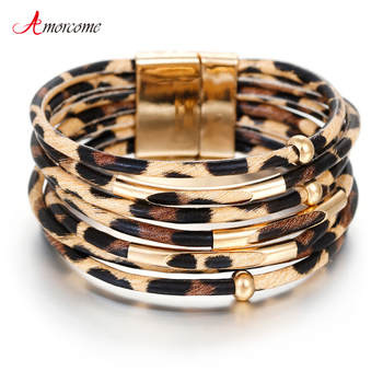 Amorcome Leopard Leather Bracelets & Bangles Elegant Multilayer Wide Wrap Bracelet Jewelry 1