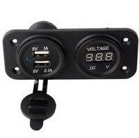Hot Selling Dual USB 3.1A Charger + Voltmeter Panel Mount Marine 12V Motorcycle Outlet VE750 T50