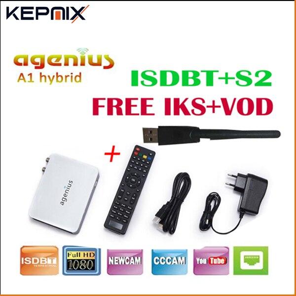 Agenius A1 mini récepteur Satellite 1080 P 1 PC USB WiFi DVB-S2 HD prise en charge Ccam IKS VOD amérique du sud