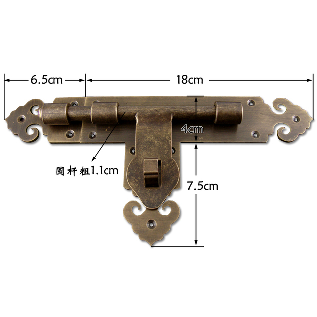 Chinese copper pure copper door lock bolt Home hardware Villa door buckle Antique  latches can be - Chinese Copper Pure Copper Door Lock Bolt Home Hardware Villa Door