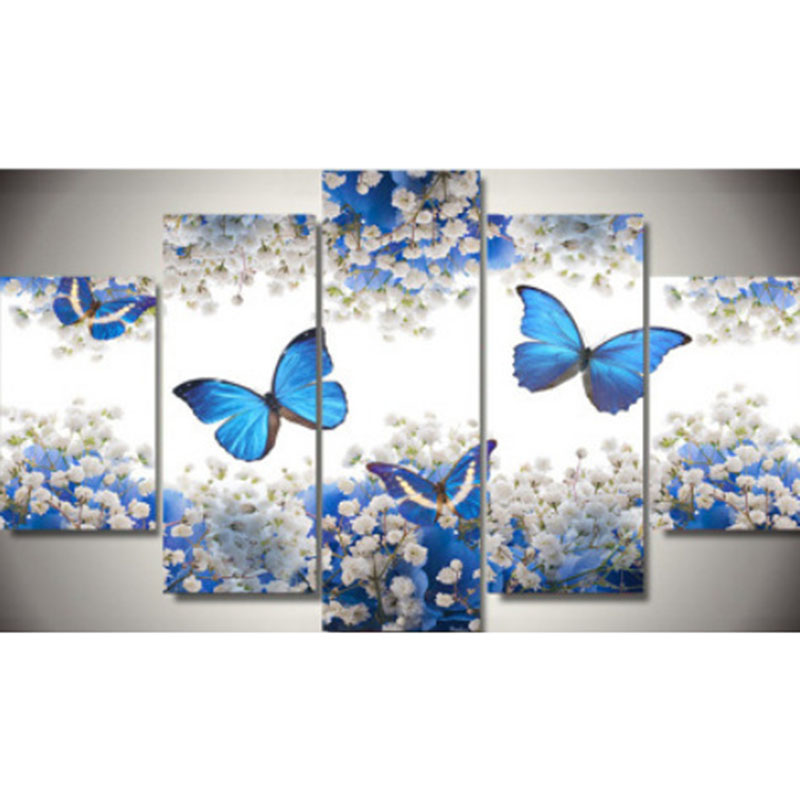 5D DIY 5pc multi diamond painting animal butterfly flower full drill square round diamond embroidery cross stitch mosaic picture