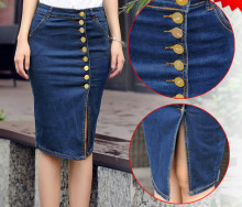 New Style Fashion Women European Type Button Elastic Slim Denim Jeans Skirts