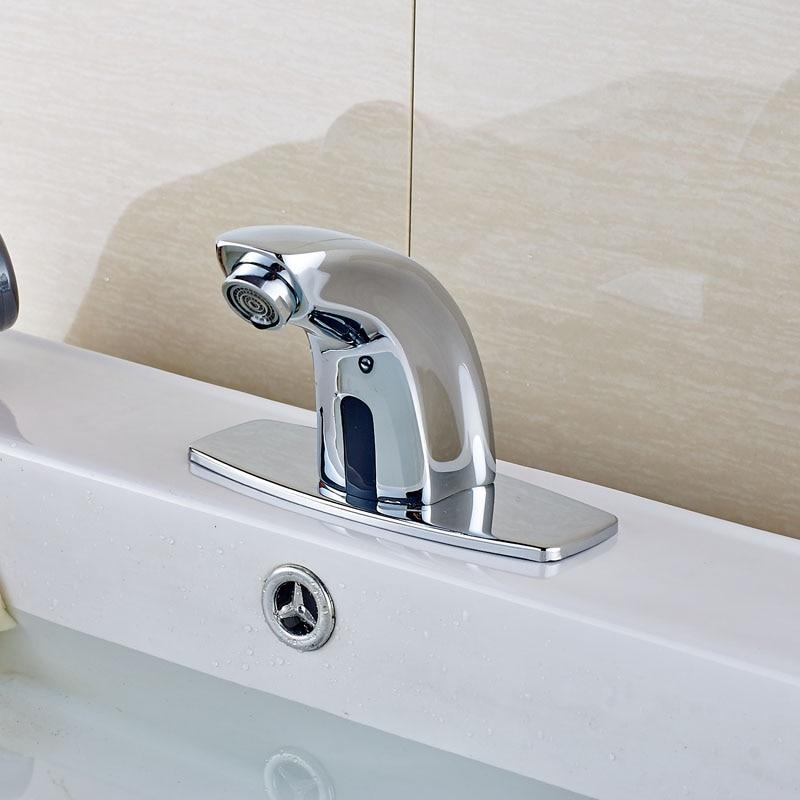 Deck Mount Brass Chrome Finish Basin Sink Faucet Automatic Sensor ...