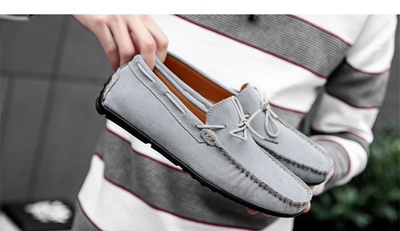 Summer Men Casual Shoes   Suede     Leather   Men Loafers Soft Moccasins Slip On Comfortable Men Shoes Flats Summer Male Shoes AQ559-574