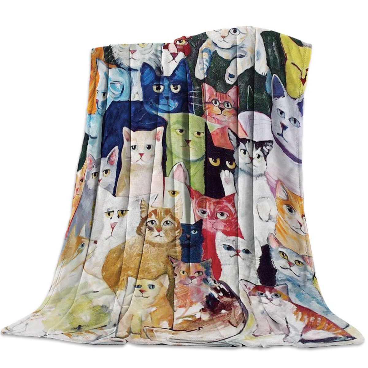 Hand Drawn Art Group Of Cats Throw Blanket Soft Warm Microfiber Blanket Flannel Blanket