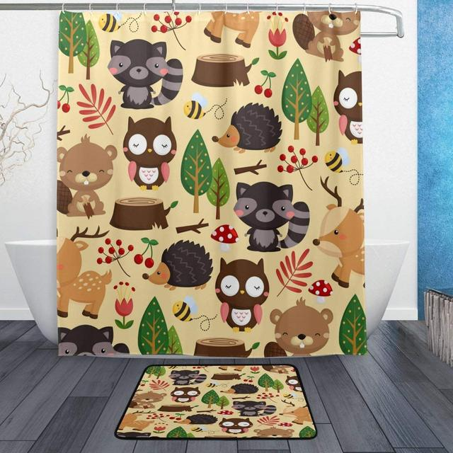 Cute Woodland Animal Cartoon Beige Shower Curtain And Rug Set Waterproof Polyester Bath Mat Bathroom Decor