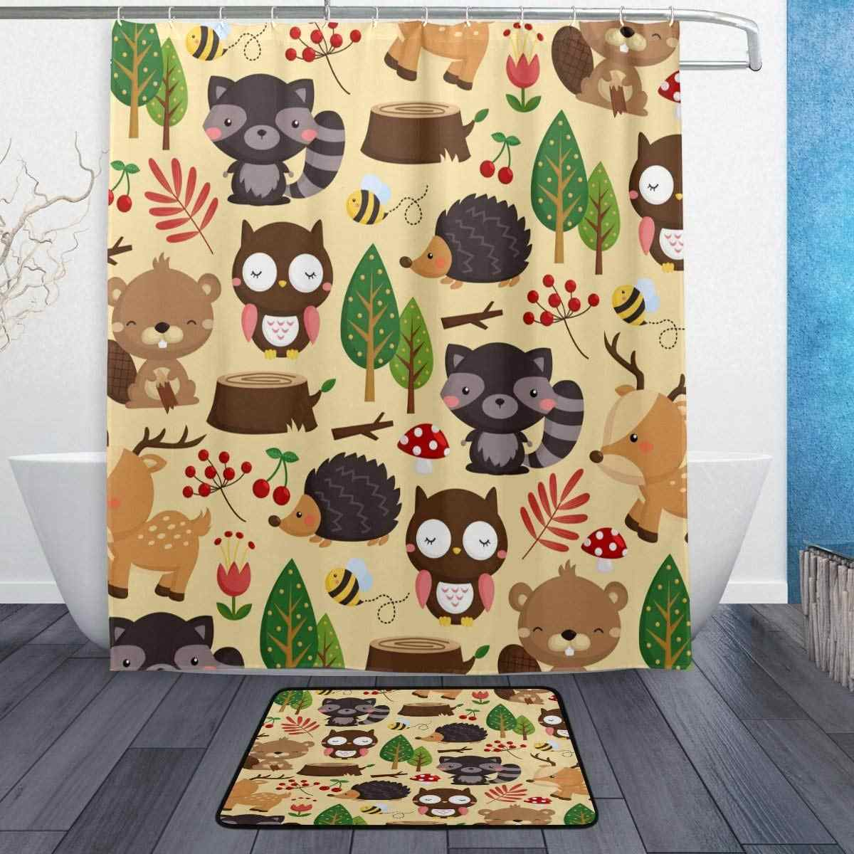 Beige Shower Curtain And Rug Set