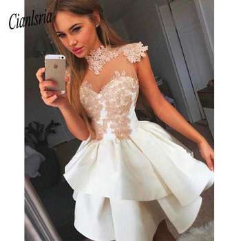 See Through 2020 Homecoming Dresses A-line High Collar Cap Sleeves Short Mini Lace Elegant Cocktail Dresses