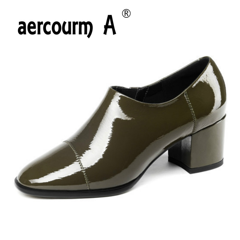 цена на Aercourm A 2019 Women Solid Color Dress Shoes Ladies Loafer Patent Leather Shoes Square Heel Women Round Toe Pumps Black Green