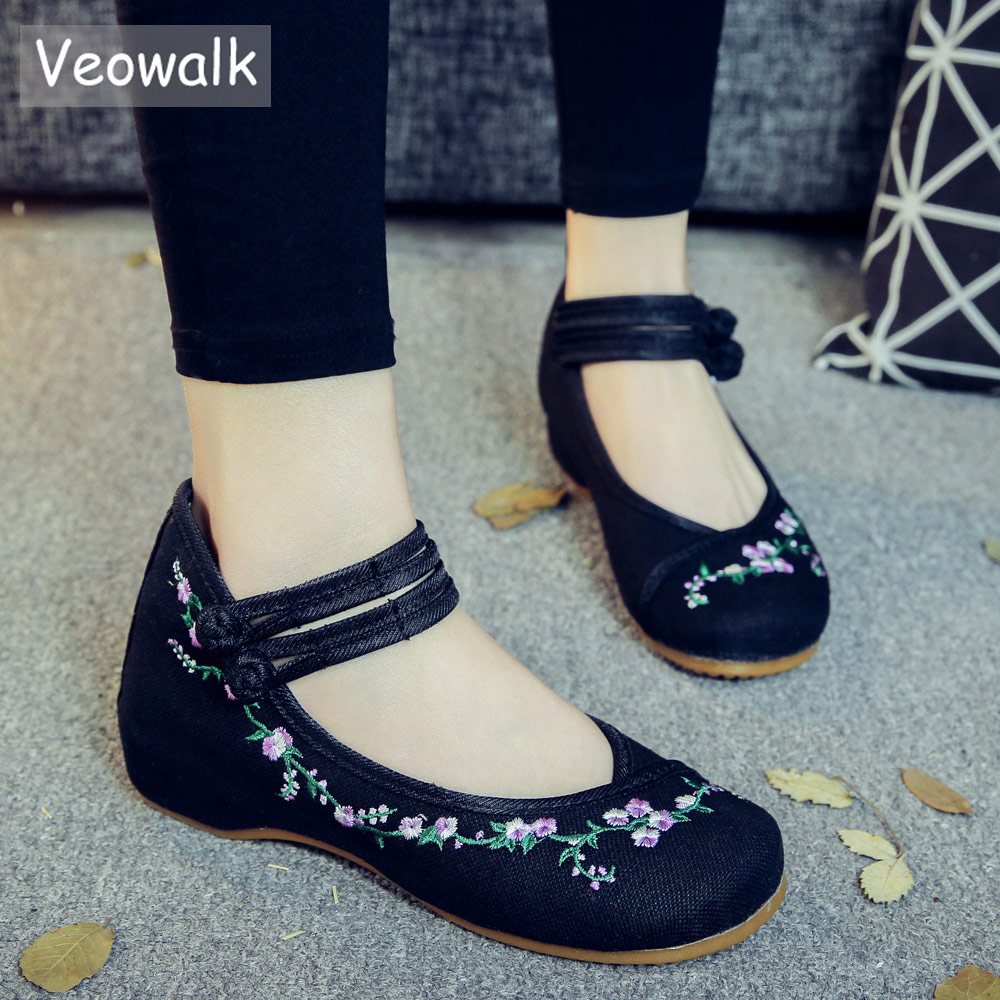 Veowalk Brand New Flower Vines Women Linen Cotton Fabric Ballet Flats Ankle Strap Ladies Casual Handmade Canvas Embroidery Shoes big size 34 43 fashion womens shoes 7 5cm high heel slippers summer solid concise lady sandals square heels female flip flops