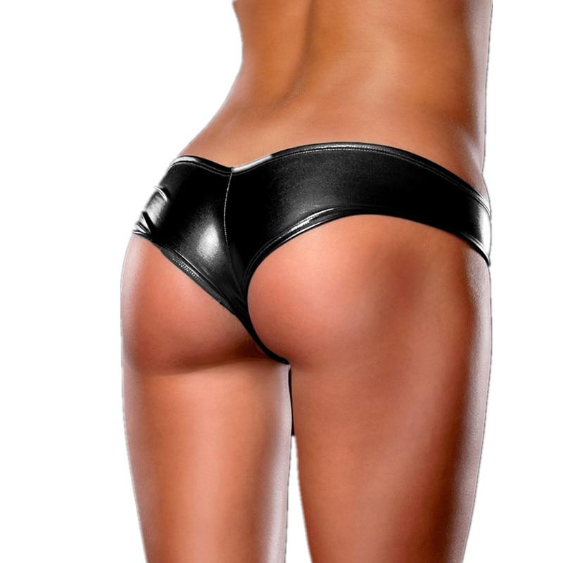 Briefs Kvinnor Metallic läder Sexiga trosor Plus Size Feminino 4XL 5XL 6XL Underkläder Kvinnor Låg midja Sexiga Bragas trosor PS5013