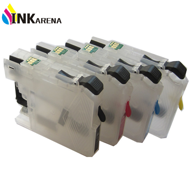 4PCS Refillable Ink Cartridge for Brother LC123 With Reset Chip for Europe Printer DCP J132W J152W