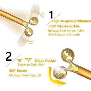 Image 4 - 2 in1 face roller massager slimming face rolling 24k gold color vibration face facial massager bar skin wrinkle lifting bar