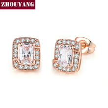 Earrings For Women Classic Luxury Style 2 Color Square Cubic Zirconia Fashion Jewellery Party Birthday Gift E275 E758 ZHOUYANG(China)