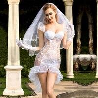 La MaxPa Sexy Summer Lace Pyjamas Wedding Dress Babydolls Erotic Perspective Transparent Lingeries Sex Sleepwear Underwear