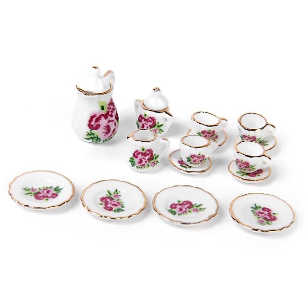 15pcs Porcelain tea set Dollhouse miniature foods Chinese rose dishes cup M6Y7