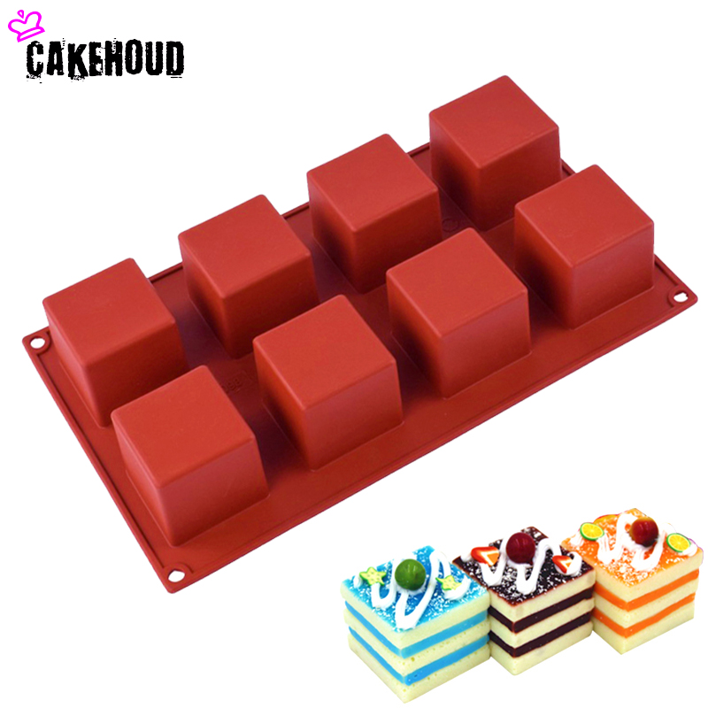 CAKEHOUD 8 hål Små Square 3D Shape Non-Stick Silicone Cake Mögel för Bakning DIY Jelly Muffin Mousse Ice Cream Chocolate Tool