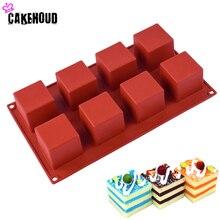 CAKEHOUD 8 отверстий маленький квадратный 3D форма антипригарная силиконовая форма для выпечки DIY Желе мусс для Маффин мороженое шоколад инструмент