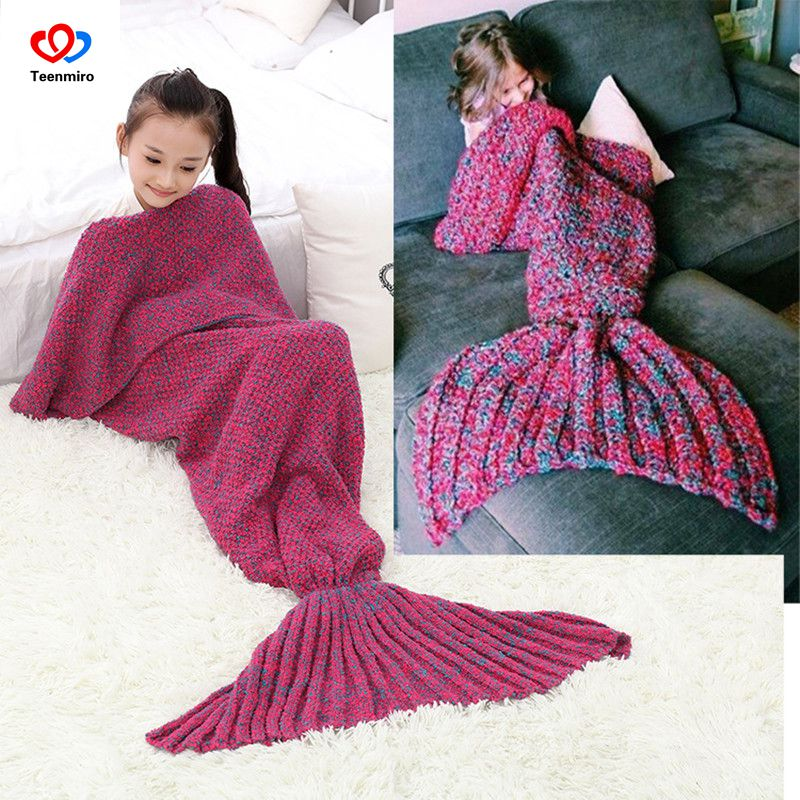 Kids Knitted Mermaid Tail Blanket Girl Bedding Sofa Sleeping Bag Swaddling Handmade Crochet Anti-Pilling Throw Bed Wrap Portable ruffles embellished knit mermaid blanket throw for kids