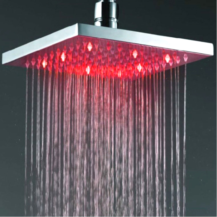 X15221 - Luxury Brass Led Shower Head, 8 Inch Rainfall Shower Head with Led light promotion sale free shipping 10 inch led shower head with brass chrome 250mm rainbow colours as time changes light 20004