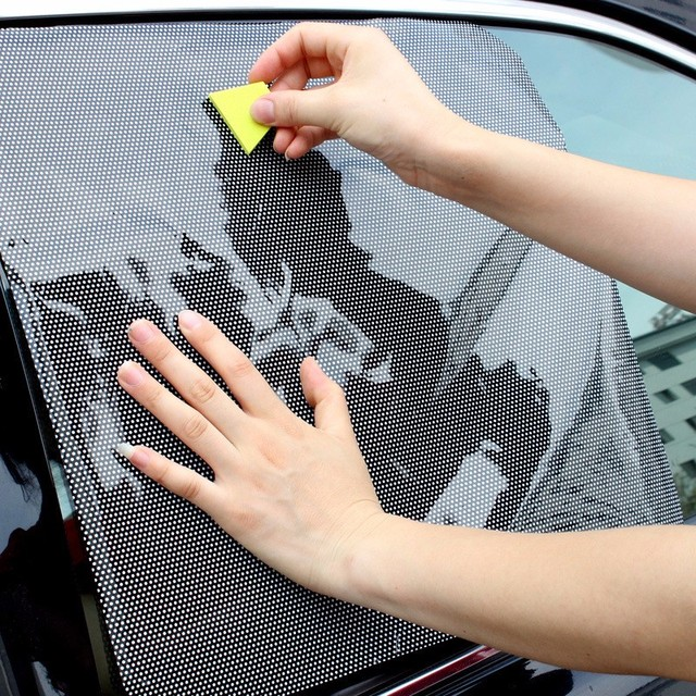 2 piezas Ventana de coche parasol lateral bloque adhesivo estático Visor escudo pantalla ventana negra Foils y protección Solar AUTO coche-estilo