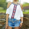 Fashion Women Cut Off Shoulder Loose Vintage Blouse Shirt Tops Summer Casual Shirt