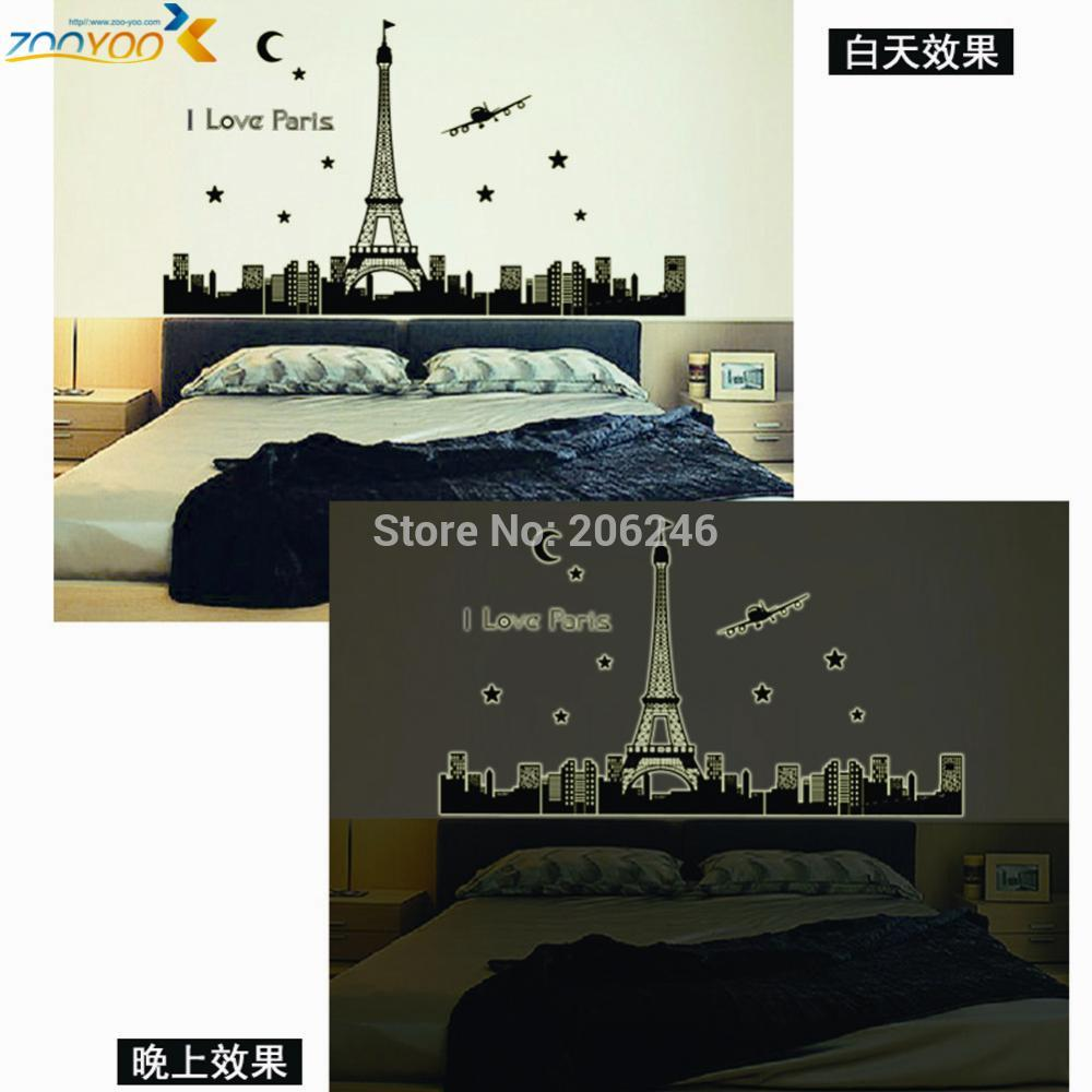 Paris eiffel tower wall stickers 3d star glow decals landscape paris eiffel tower wall stickers 3d star glow decals landscape country wal art zooyoo9602 home decorations diy bedroom 40 in wall stickers from home amipublicfo Images